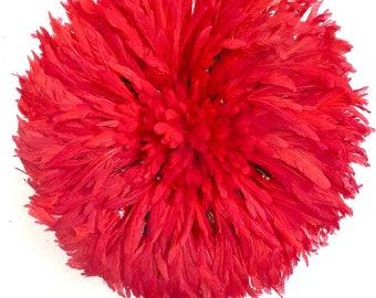 Juju Hat - coiffe de plumes de Bamileke - rouge - diamètre 50 cm -