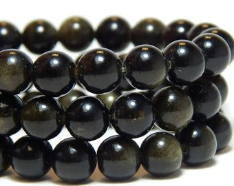 8mm Golden Obsidian, 8mm Black Beads, Golden Black Beads, Obisidan Beads, Black Beads, Black Gemstone Beads, Black Obsidian, B-38B