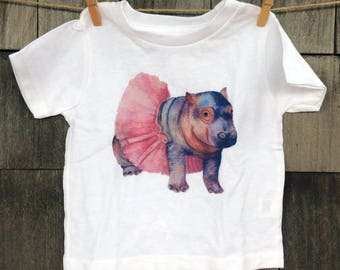 Watercolor Baby Hippo Toddler T-Shirt