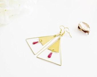"""Geometric - """"Inuit PINK"""" - elegant earrings"""