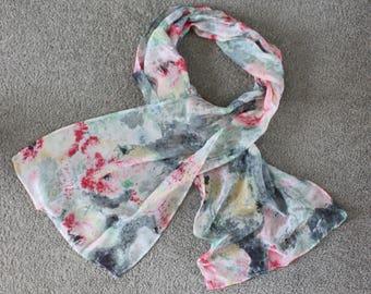 Silk chiffon long scarf in mottled grey & pink