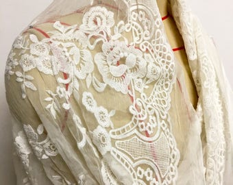off white flower silk lace,Embroidery silk fabric,lace fabric,wedding dress fabric-ZSME0030