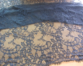 navy Lace fabric ,blue Chantilly Lace Fabric-150cm wide, Eyelash Lace Trim, Wedding Table Decor,  Floral lace shawl