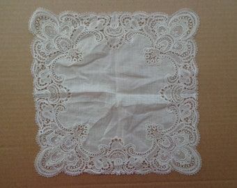 Vintage Hankie, Gorgeous White Bridal Hanky With Wide Embroidered Lace Edge, Cotton Handkerchief, Wedding Hanky  FS