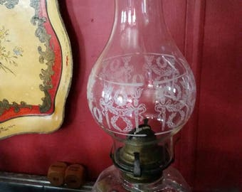 Chimney Wreath and Torch Painted Oil Lamp Globe Vintage Lighting Mid Century Collectible Home Decor Choice of 1 or 2 Replacement Glass
