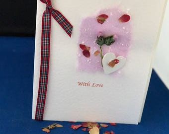 Handmade  card 'With Love'. Scottish themed card with thistle and tartan ribbon. Special occasion card. Personalisation possible