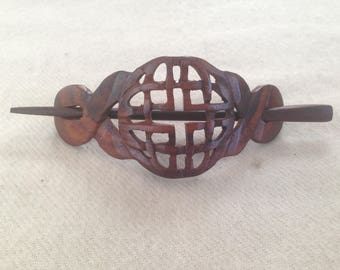 Handmade Carved Organic Eco Friendly CELTIC KNOT Wooden Wood Hair Barrette.Wood French Barrette.Wood Hair Slip/Slide.Wood Hair Accessories
