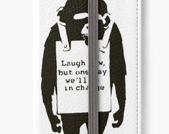 Folio Wallet Case for iPhone 8 Plus, iPhone 8, iPhone 7, iPhone 6 Plus, iPhone SE, iPhone 6, iPhone 5s - Laugh Now Banksy case