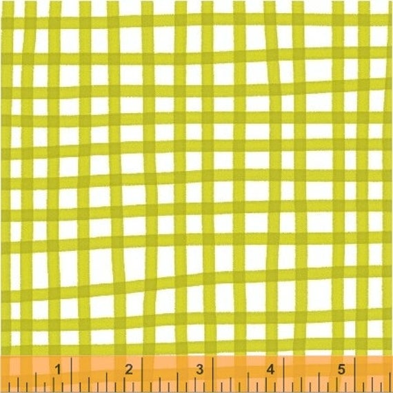 Daisy Chain by Annabel Wrigley for Windham Fabrics - Plaid in Chartreuse