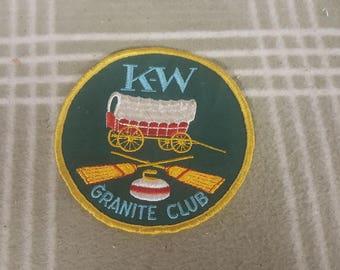 Vintage KW Granite Club Curling Patch. Kitchener/Waterloo. Covered Wagon
