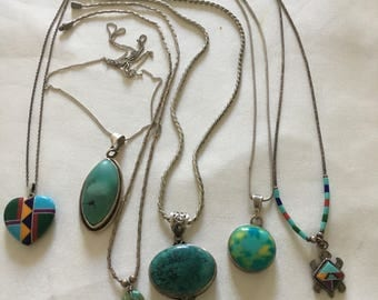 Gorgeous Vintage Sterling Silver Turquoise and Other Gems set of SIX Necklaces. Native American.
