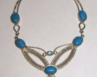 Turquoise & Topaz necklace