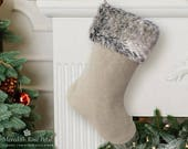Linen Christmas Stocking, Linen Christmas, Linen Stocking, Fur Christmas Stocking, Fur Stocking, Faux Fur Christmas Stocking, Faux Fur