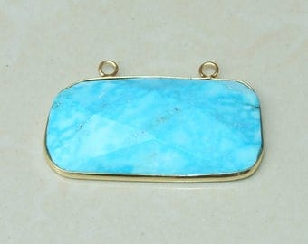 Howlite Pendant. Blue Howlite Pendant - 14K Gold Plated Bezel and Two Loops - 24mm x 42mm - 4658