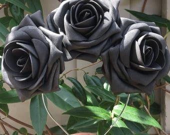 Black Rose Fascinator /Black Rose Gothic Head Crown,Flower crown,Races,Crown, Day of the Dead Crown, Dia de los Muertos. Ref: 031