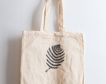 Fern / Hand illustrated organic cotton tote bag