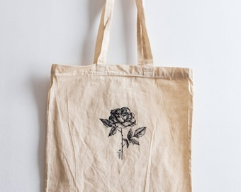 Rose / Hand illustrated organic cotton tote bag