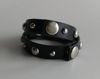 Up-cycled Black vinyl studded cuff bracelet silver studded cuff bracelet statement piece black cuff belt cuff unisex cuff stud bracelet