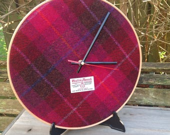 "12"" cerise harris tweed fabric clock wedding gift home decor"