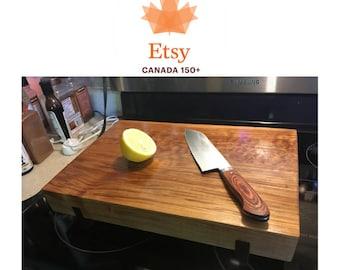 Maple cutting board with walnut base