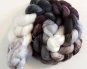 Merino Nylon Sparkle,Black Orchid, superwash Sock Blend,handbemalte Fasern zum Spinnen,100g Kammzug