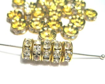 50% OFF Clearance Sale-- Clear Rhinestone Spacer Beads Gold Tone 8mm Rondelles A GRADE