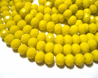 1 Strand Yellow Faceted Rondelle Beads 8x6mm