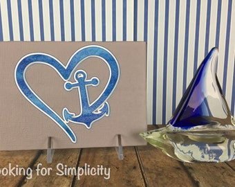 Heart and Anchor Canvas Sign (Show you love for boats, oceans and water)