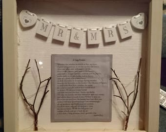 Customised lit Box Frame containing personalised message and decorations