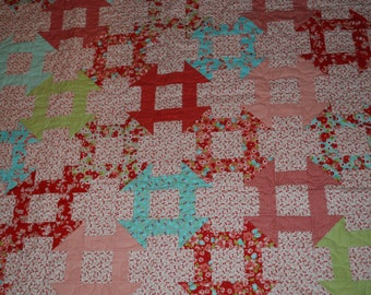 Little Ruby FLANNEL Baby Girl Quilt, Pieced Baby Quilt, Modern Baby Quilt