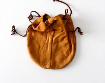 vintage leather pouch, drawstring bag