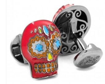 Red Day of the Dead Skull Cufflinks