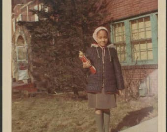 Vintage 1960s Color Snapshot Photo African American Girl Candid Outdoors Smiling Retro