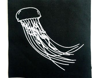 Jellyfish Patch - Screen Print on Black Duck Canvas