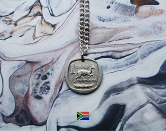 South African 1 Rand Handmade Silver Coin Necklace - Silver Plated Chain.
