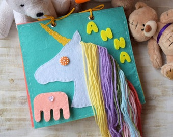 Quiet Busy Book for kids toddler activity educational toys developing baby Toy Travel Unicorn Personalized Felt Montessori toy Fine Motor