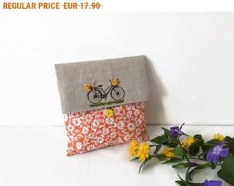 Summer Sale , Clutch Bag, Orange foldover Clutch, Cosmetic Bag, Wedding Clutch, Favor Bag, Flower Clutch Bag, Cosmetic  Storage, Make up
