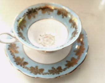 Blue and Silver Westbrook Tea Cup and Saucer, Blue tea cup and saucer set, Bone China England.