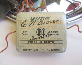 Tin; Antique Medical Tin, E. W. Grove Laxative Tin