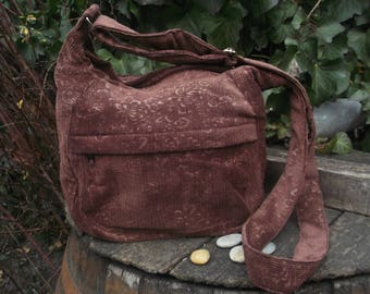 Brown floral corduroy messenger bag,zippered bag