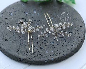 Golden hair pins for bride, bridal hairpins, wedding hairpins, mother-of-a-bride, bridesmades hair pin set, wedding hair comb