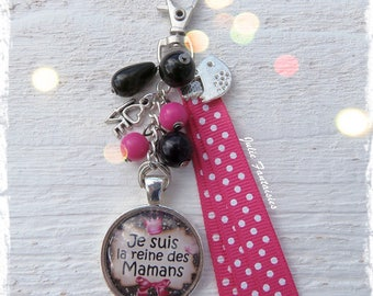 "Bag charm cabochon ""I'm the Queen of moms"""