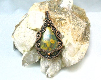 Hand Wire Wrapped Fruit Jasper Pendant