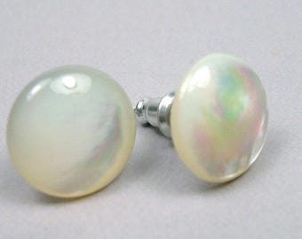 Natural White Mother of Pearl Titanium Post Stud Gemstone MOP Earrings 12mm