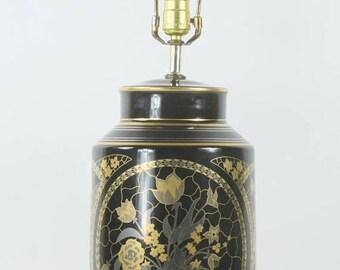 SUMMER SALE Vintage Oriental Lamp,  Black Gold Floral Motif, Hand Painted Porcelain Lamp Floral Bouquet