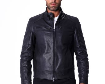 Genuine leather biker jacket, mao collar, winezed lamb leather, black color