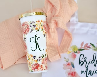 Personalized Bridesmaid Tumbler - Monogram Floral Tumbler - Maid of Honor Gift (TB01)