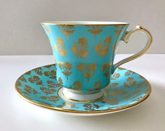 Turquoise Aynsley China Tea Cup & Saucer