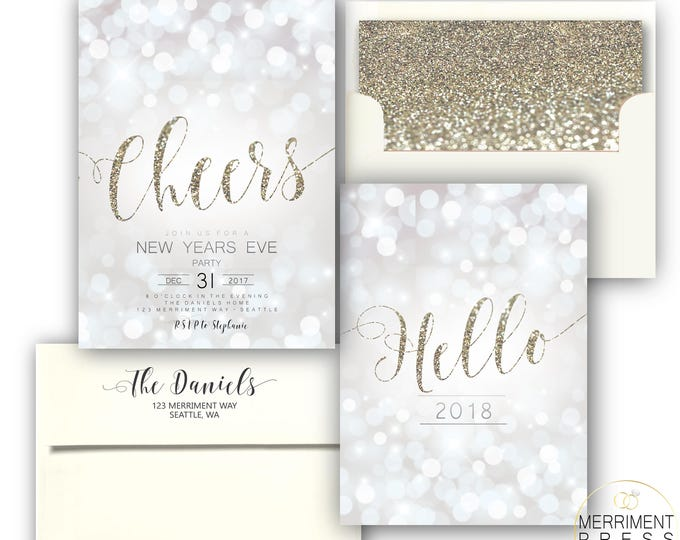 New Years Eve Invitation Champagne Glitter Sparkly Gold Glitter White Sparkle New Year's Invitation Bokeh Holiday Invite SEATTLE COLLECTION