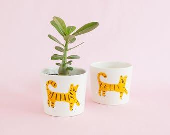 Nimerah Tiger big mug or small planter - orange stripe big cat ceramic cup for tea, coffee and indoor or outdoor house plants